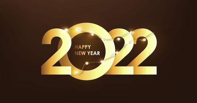 Bonne année 2022 numéro de conception de texte doré et guirlandes lumineuses à led