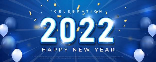 Bonne année 2022 numéro de texte modifiable sur fond bleu