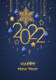 Bonne année 2022. numéros métalliques dorés suspendus 2022 avec flocon de neige brillant, étoiles métalliques 3d, boules et confettis sur fond bleu. modèle de carte de voeux ou de bannière de nouvel an. vecteur.