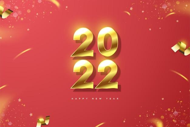 Bonne année 2022 avec des numéros d'or de luxe sur fond rouge
