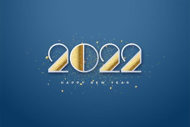 Bonne année 2022 avec des paillettes sur les pièces numérotées