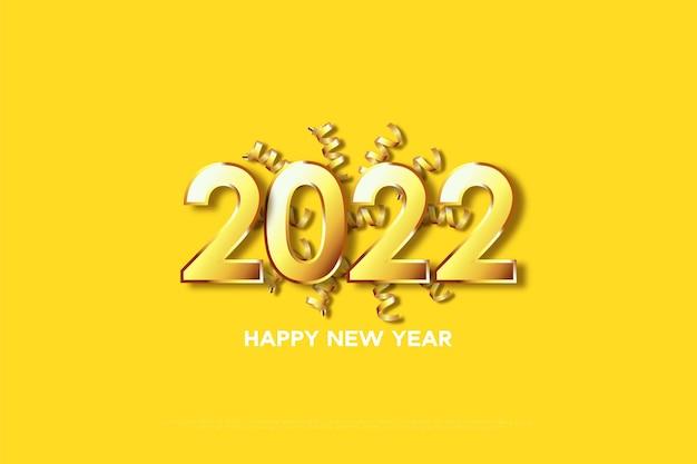Bonne année 2022 avec ruban jaune