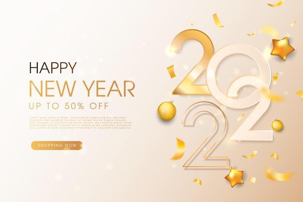 Bonne année 2022 salutations de vacances de nombres métalliques dorés 2022 et de paillettes scintillantes