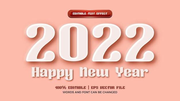 Bonne année 2022 style d'effet de texte modifiable en relief blanc 3d