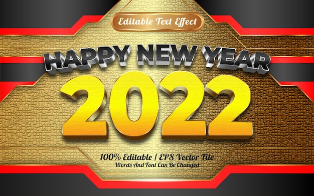 Bonne année 2022 texture dorée noire et jaune avec effet de texte modifiable
