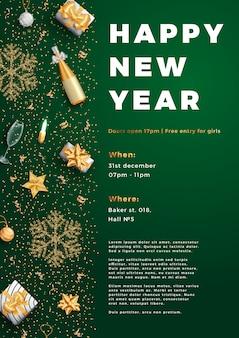 Bonne année affiche d'affiche mise en page parti ou modèle de flyer.