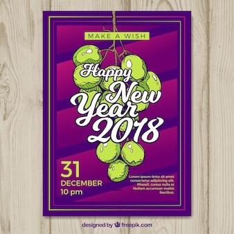 Bonne année affiche avec douze raisins