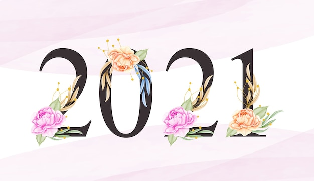 Bonne année à l'aquarelle avec de belles feuilles et fleurs