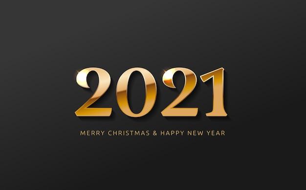 Bonne année bannière logo conception de voeux avec nombre d'or de l'année sur un fond noir abstrait conception pour le calendrier d'invitation de carte de voeux, etc.
