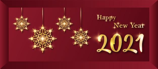Bonne année bannière réaliste avec fond de mandala ornemental de luxe, style arabesque.