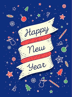 Bonne année. bannière de ruban dans un style coloré et lumineux avec texte happy new year