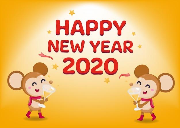Bonne année carte de voeux 2020 avec des rats mignons