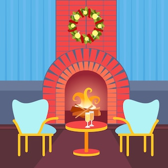 Bonne année cheminée cheminée décoration hiver maison noël décorée