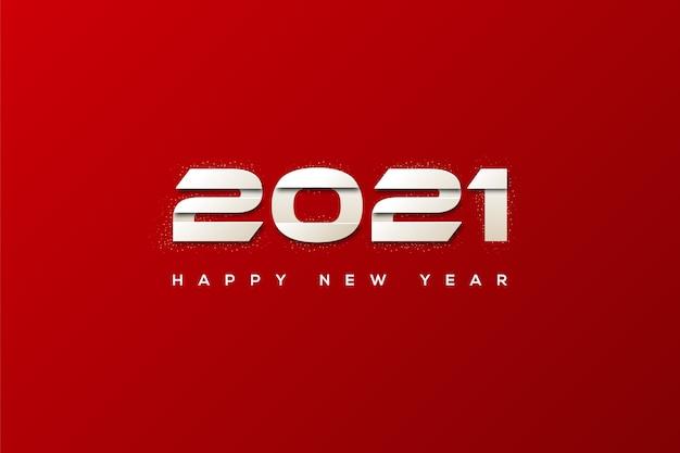 Bonne année avec un chiffre blanc au milieu