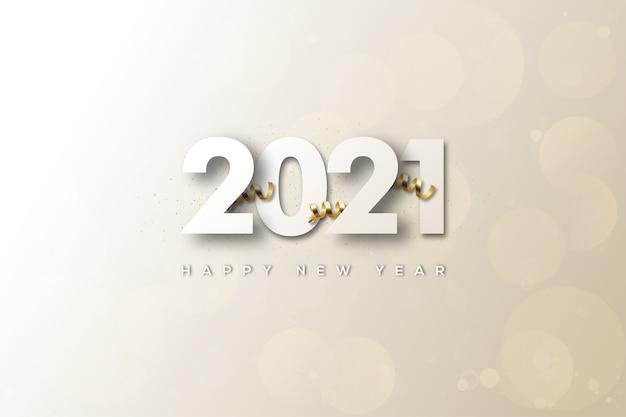 Bonne année avec des chiffres et des effets blancs
