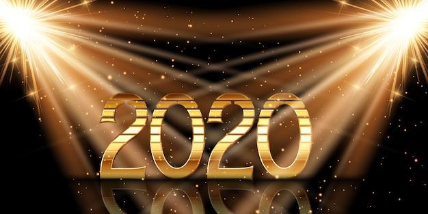 Bonne année avec des chiffres en or sous les projecteurs