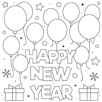 Bonne année. coloriage. noir et blanc