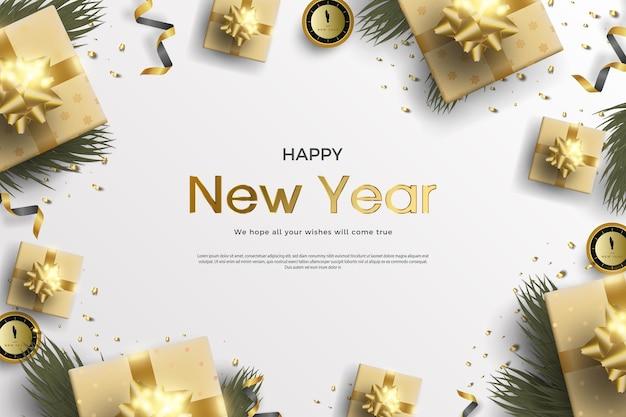 Bonne année avec une décoration d'arbre vert et une horloge indiquant l'heure de la célébration