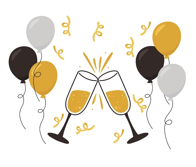 Bonne année, décoration de confettis de ballons de toast au champagne et illustration vectorielle de célébration