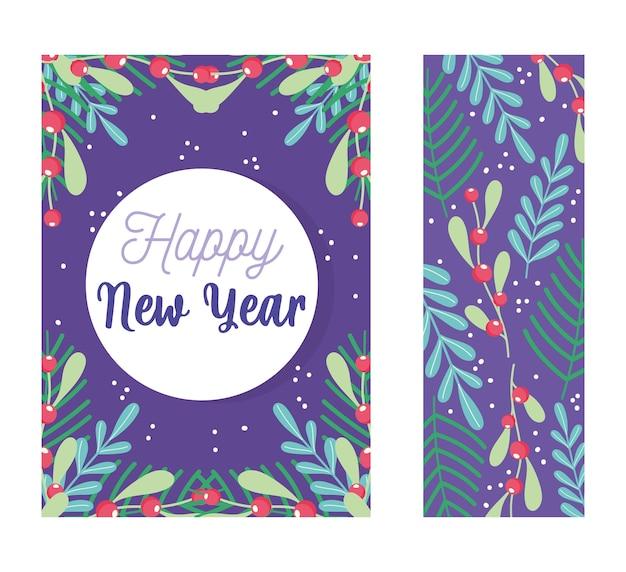 Bonne année décoration florale baies laisse fête de célébration