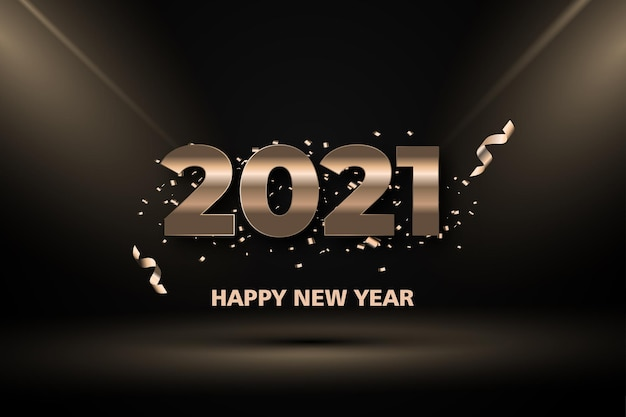 Bonne année deux mille vingt et un avec lumière or sur fond noir