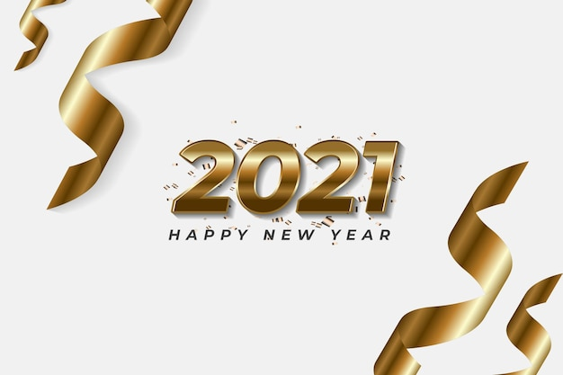 Bonne année deux mille vingt et un avec numéro d'or sur fond blanc