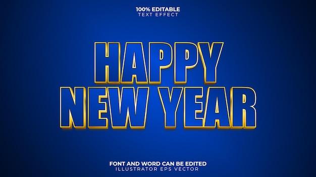 Bonne année effet de texte bleu et or brillant vecteur gras