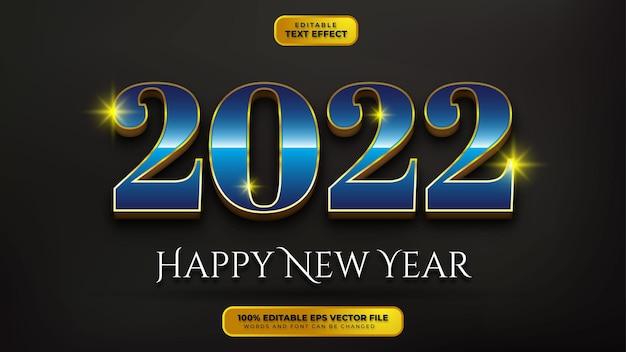 Bonne année effet de texte modifiable en or bleu 3d