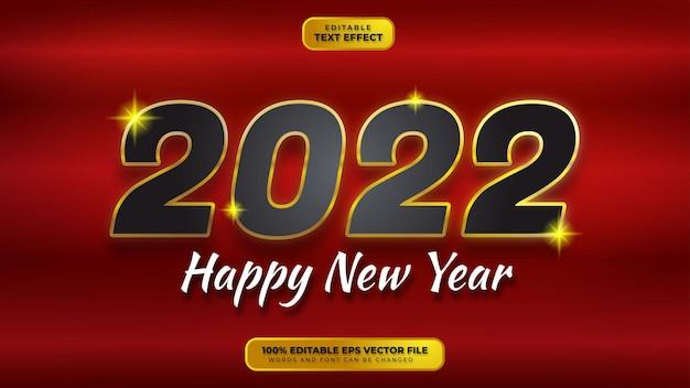 Bonne année effet de texte modifiable en or noir 3d