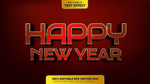 Bonne année effet de texte modifiable en or rouge 3d