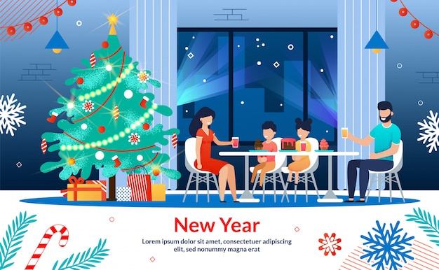 Bonne année famille bannière