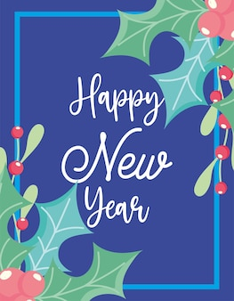 Bonne année, fête de célébration de feuilles de gui, design floral pour fond bleu carte