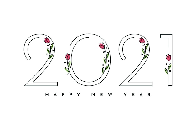 Bonne année avec des fleurs
