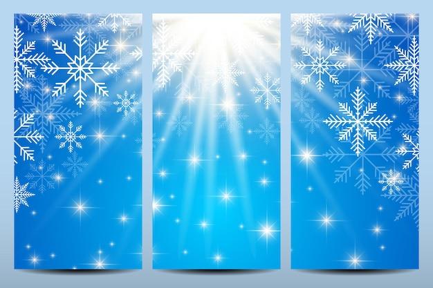 Bonne année flyers. fond bleu avec des flocons de neige. modèle vectoriel de conception moderne.
