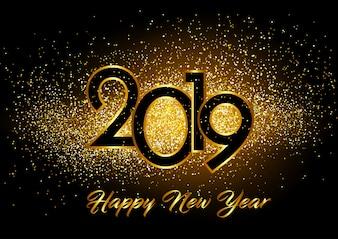 Bonne année fond avec effet de paillettes