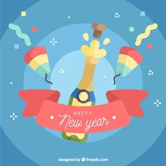 Bonne année fond avec du champagne