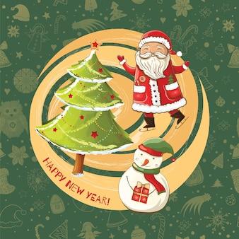Bonne année fond. illustration du père noël heureux sur patins, bonhomme de neige et arbre de noël brignt.