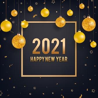 Bonne année fond noir avec des boules de noël or