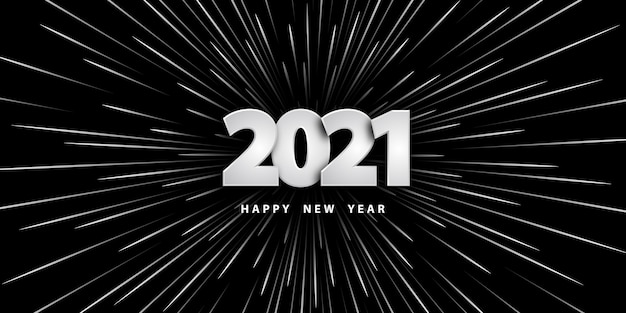 Bonne année fond noir avec des chiffres et des rayons de vitesse de la lumière