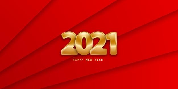 Bonne année fond rouge dans le style de papier découpé