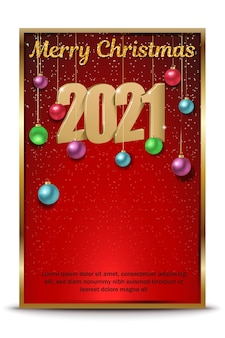 Bonne année, illustration des numéros de logo doré et bonne année sur fond rouge avec des boules de noël, invitation de célébration de new york.
