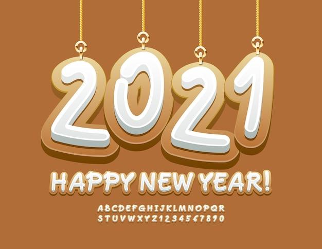 Bonne année avec des jouets 2021. police de cookie. lettres et chiffres de l'alphabet doux