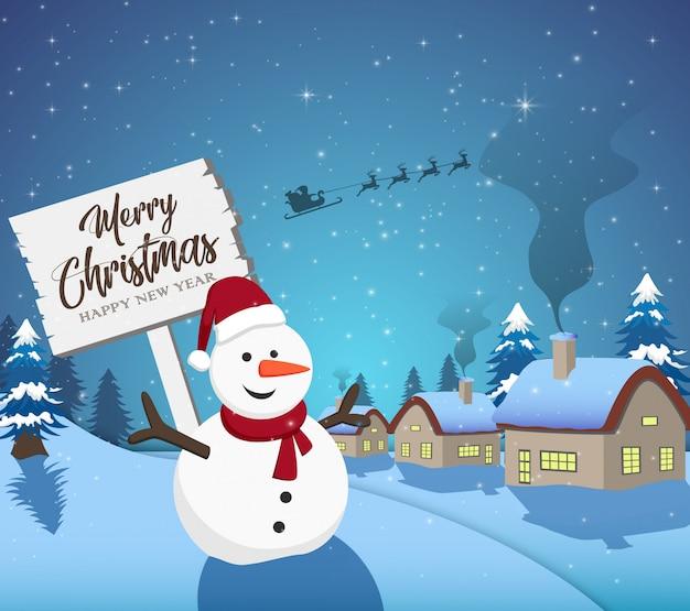 Bonne année joyeux noël 2019 avec bonhomme de neige