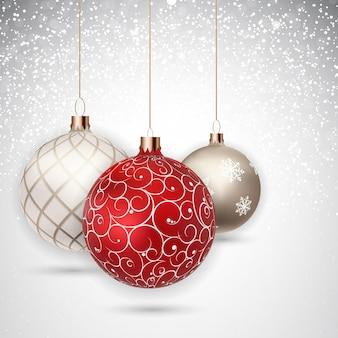 Bonne année et joyeux noël fond d'hiver avec ball vector illustration eps10