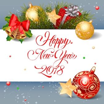 Bonne année lettrage et bells