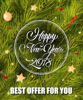 Bonne année lettrage en cadre rond