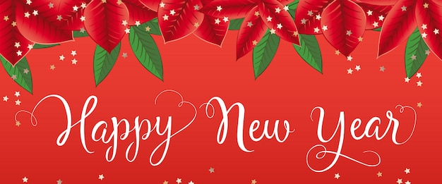 Bonne année lettrage avec des feuilles de poinsettia