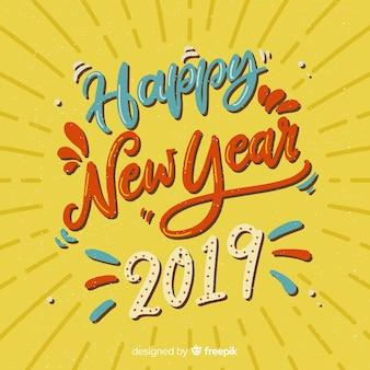 Bonne année lettrage de fond