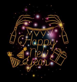 Bonne année lettrage avec des lumières et des icônes