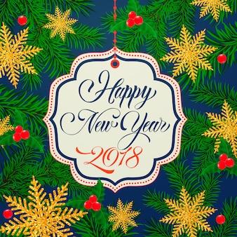 Bonne année lettrage sur le tag